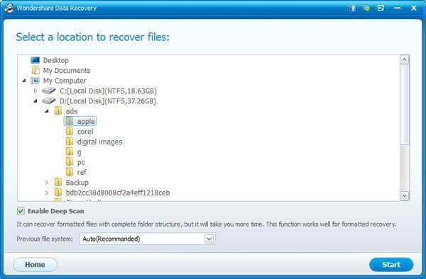 recover files from removable media step 2