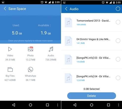 Como limpiar espacion en Android