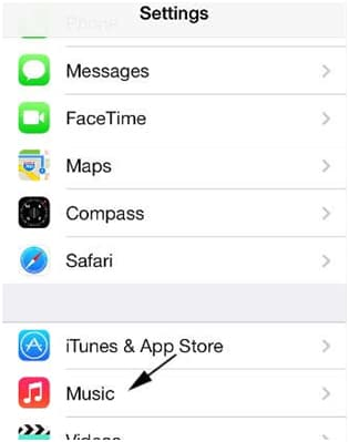 Delete the Music from iPhone Settings