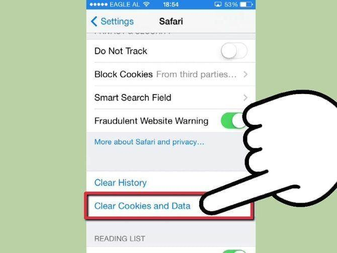 iphone delete cache and cookies