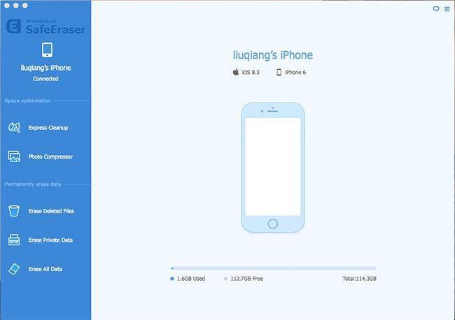 erase iphone data with Wondershare SafeEraser