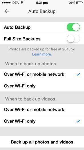 Google+ Auto Backup to Backup Phone Photos