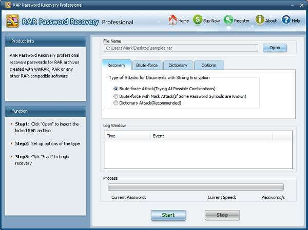 rar password recovery professional 1