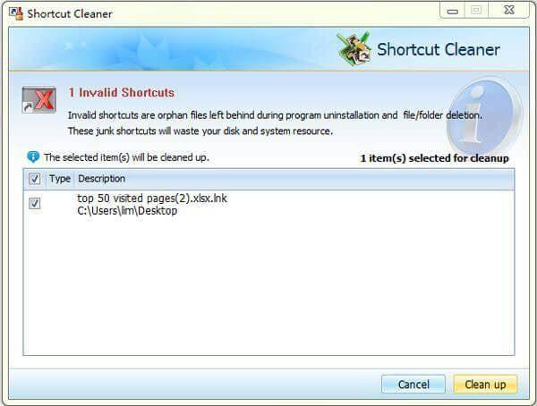 broken shortcut cleaner