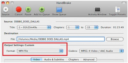 choose output format for mts files in handbrake