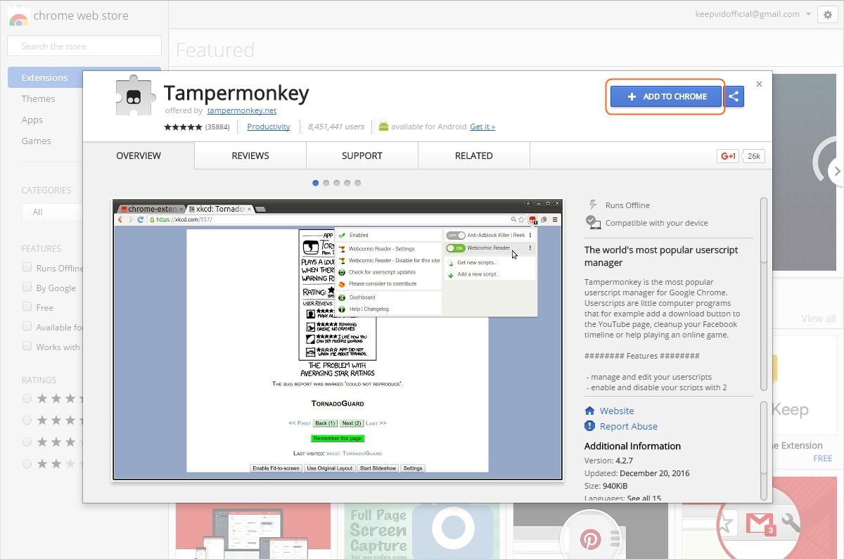 Install AllMyTube Download Extension to Browser - Install TamperMonkey