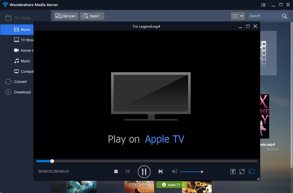 play movie on apple tv from pc