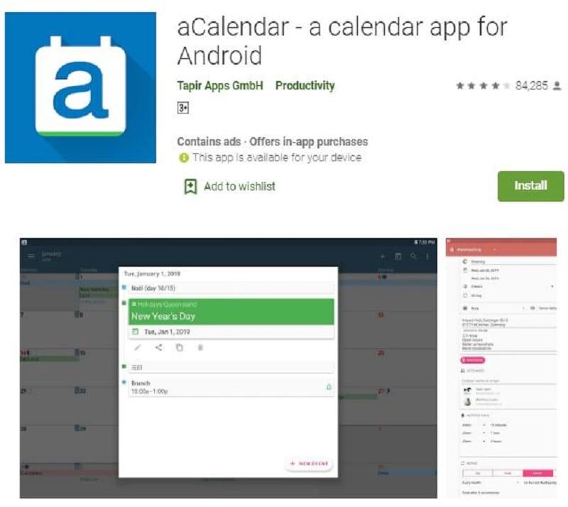 android calendar widget