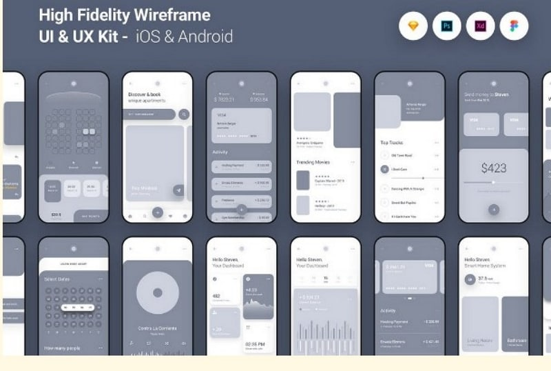 app design wireframe template