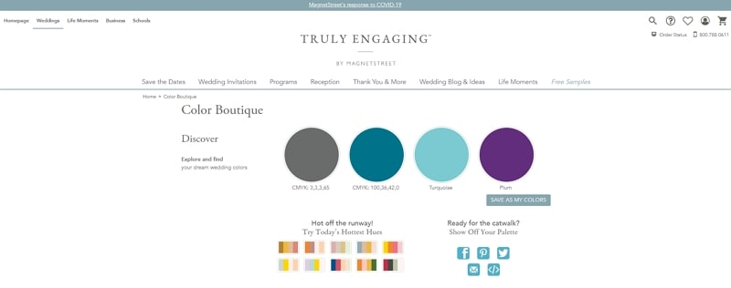generate color palette for wedding