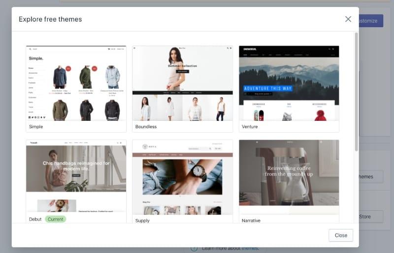 shopify website creator