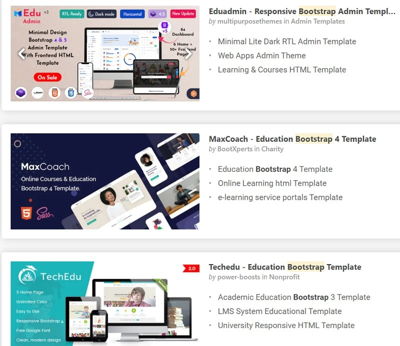 education HTML templates