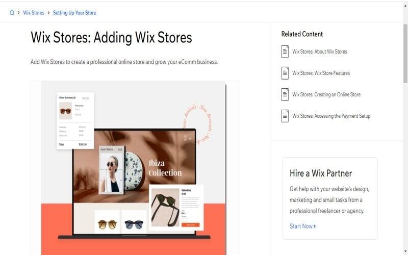Wix web shop
