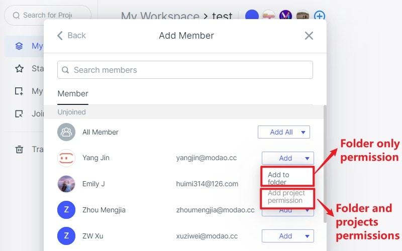 add folder members