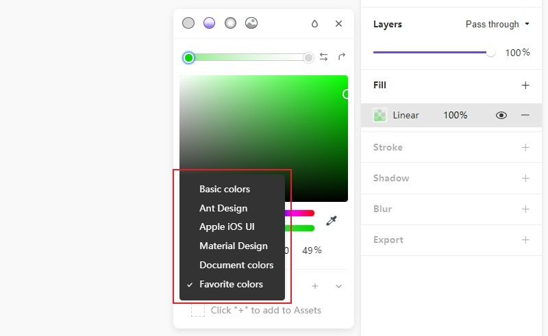 configured color system of the color palette