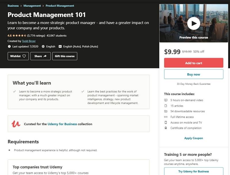 product management courses online