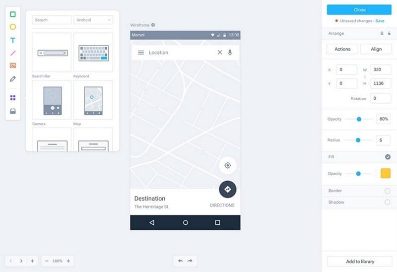 marvel app prototype
