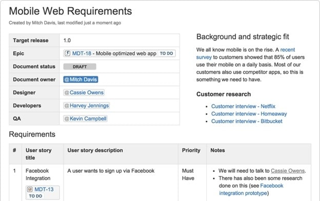 product requirements document example