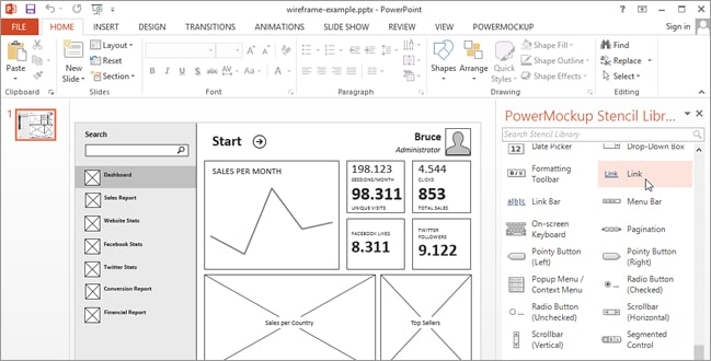 powerpoint wireframe
