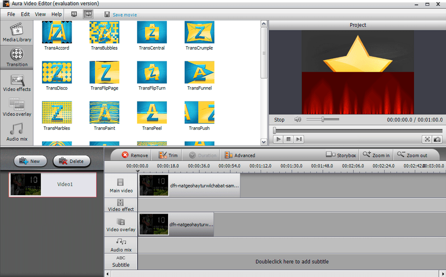 aura video editor Untertitel Programm