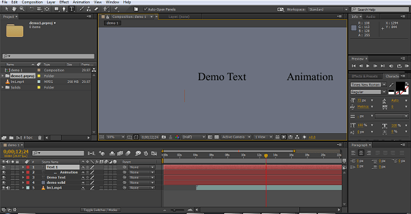 add text animation in after effects