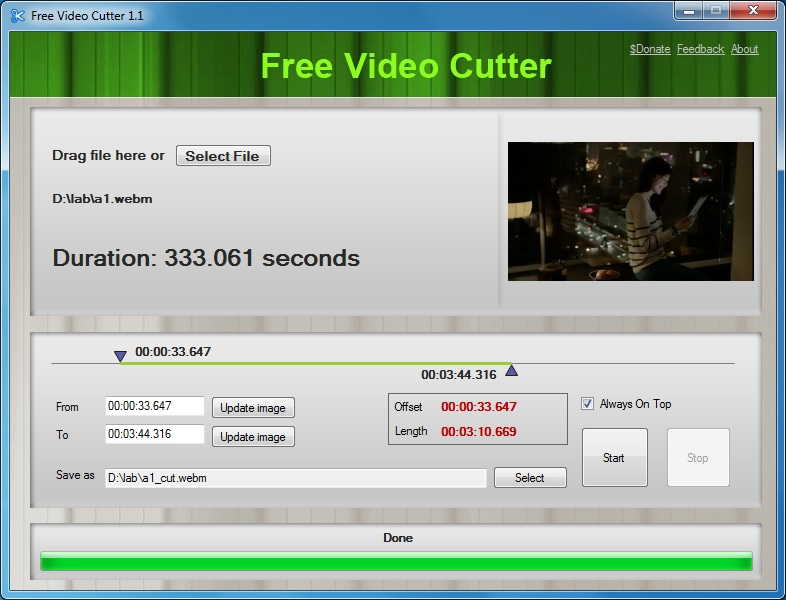 Free Video Cutter - WMA Schnittprogramm