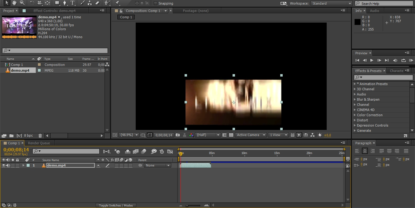 Launch After effects and import your video