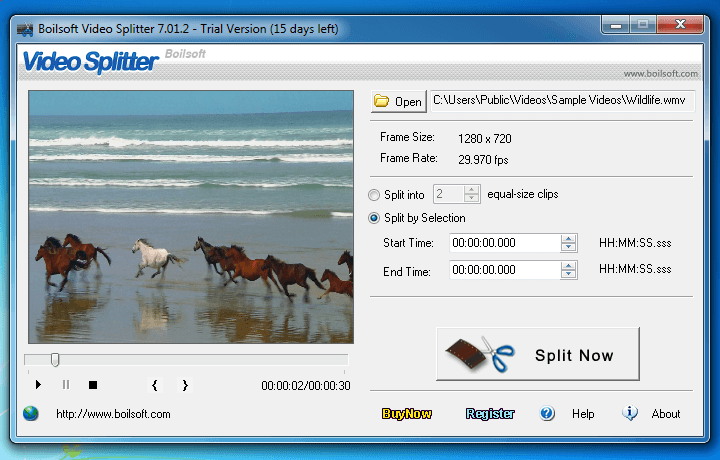 Boilsoft Video Splitter - WMA Schnittprogramm