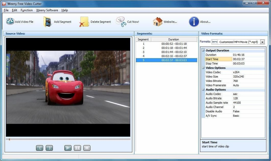 Weeny Free Video Cutter VOB Schnittprogramm