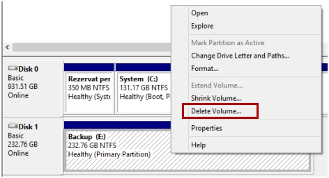 delete partition in Windows 10
