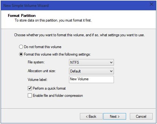 partition a hard drive in Windows 10