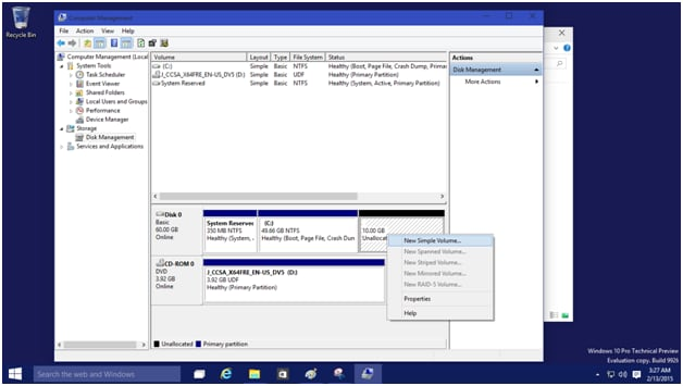 windows 10 how to partition a backup hard drive