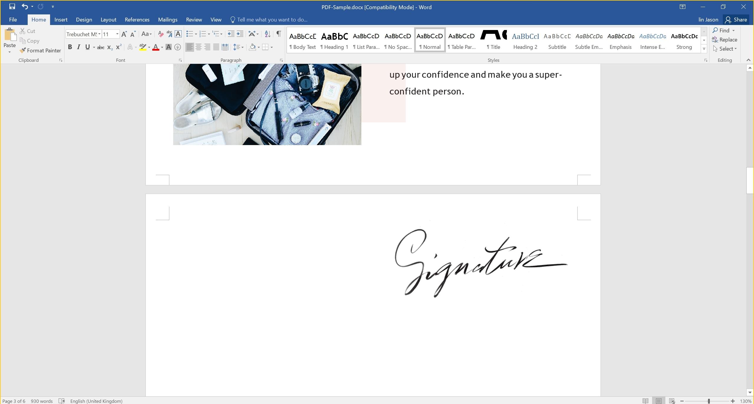 signature in word