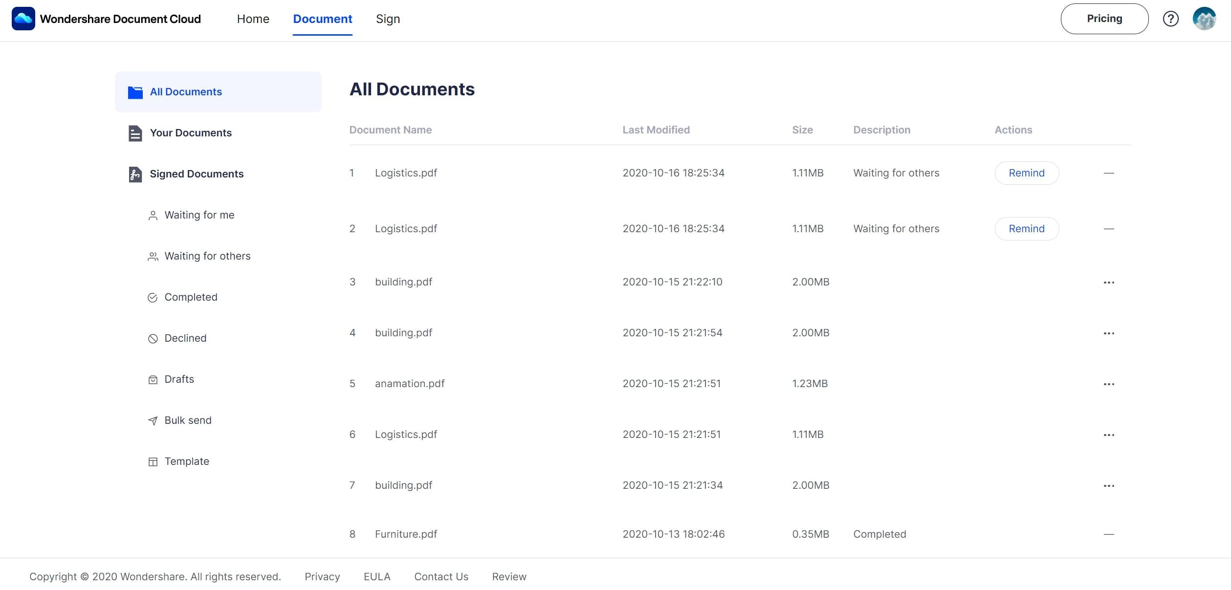 document menu