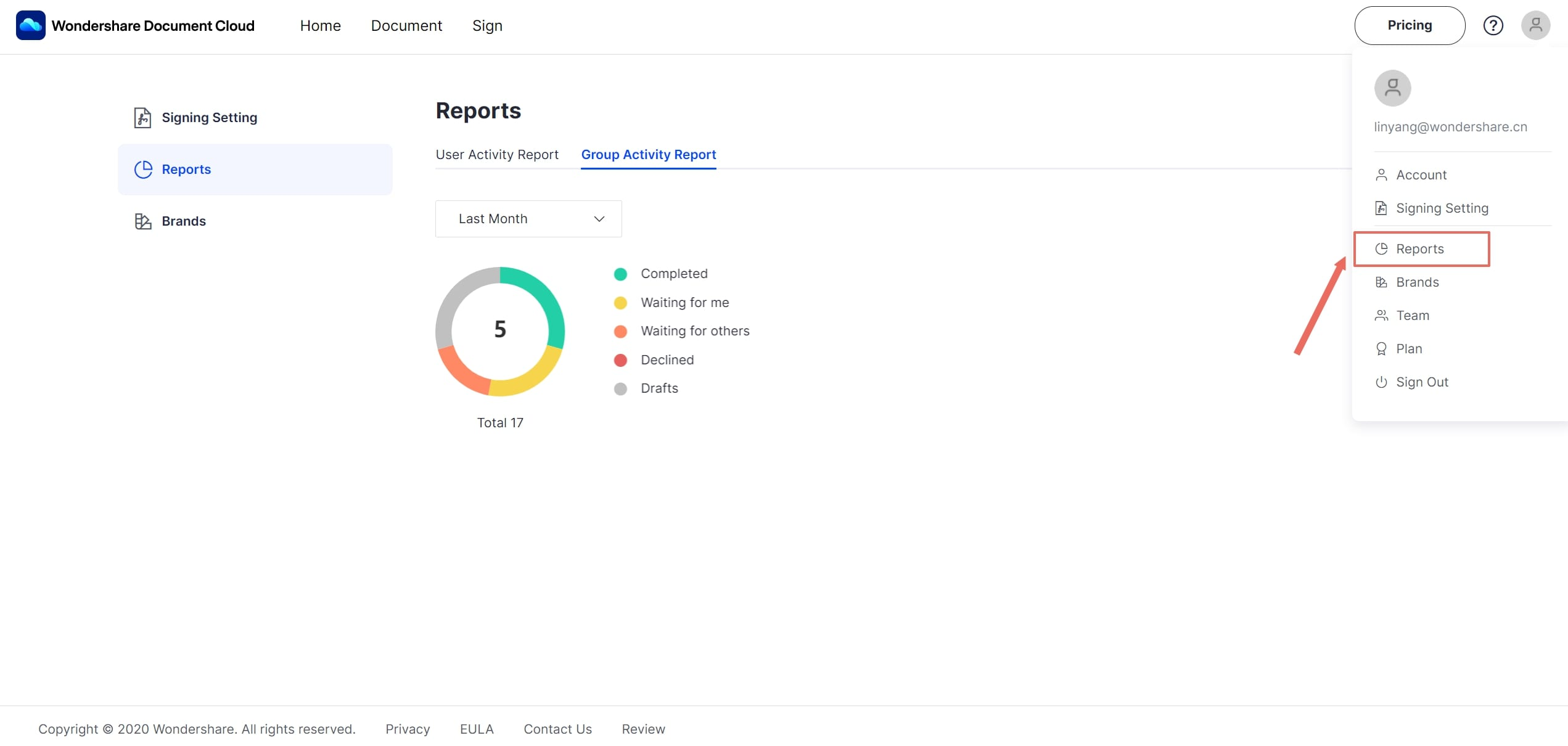 team reports page