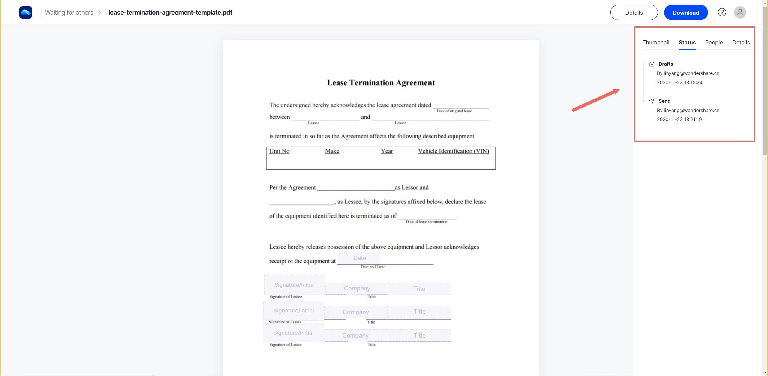 track document status