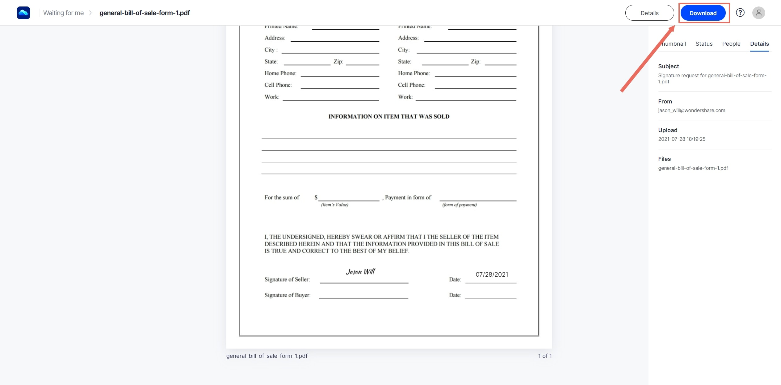 download signed document