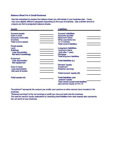 balance sheet template 4
