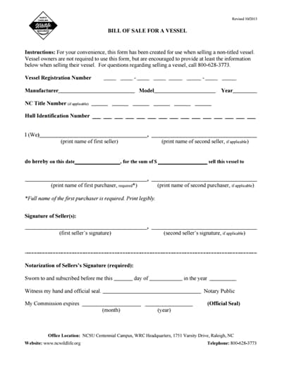 boat bill of sale form 2