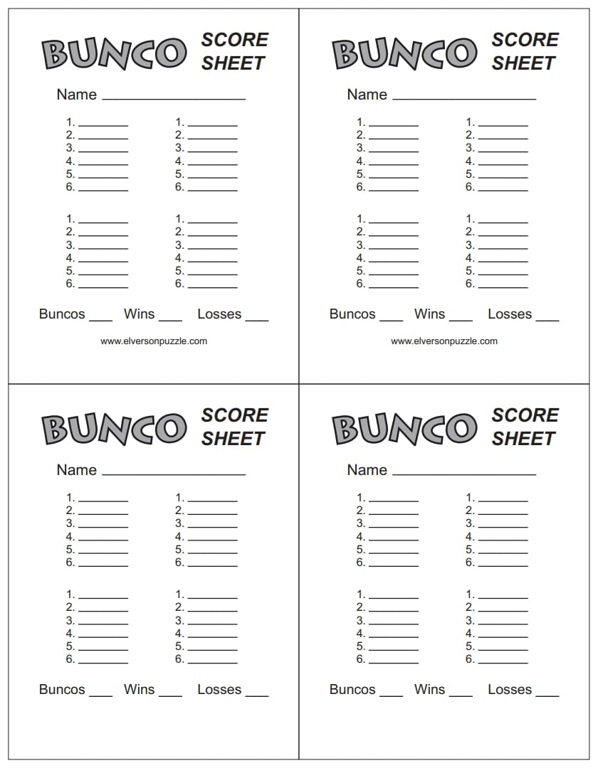 bunco score sheet 3