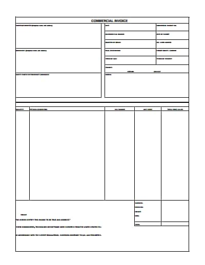 commercial invoice template 2