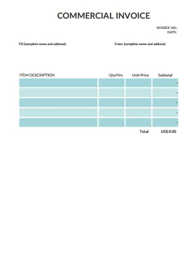 commercial invoice template 4