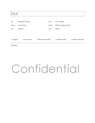 confidential fax cover sheet template 2