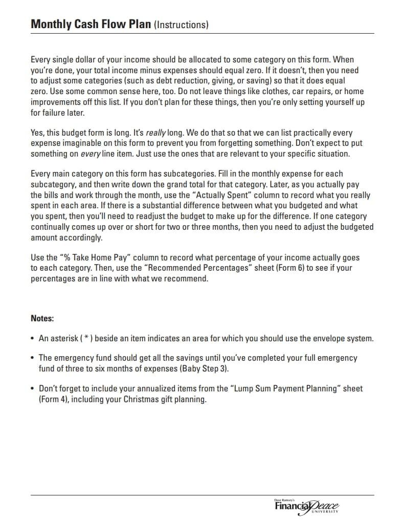 dave ramsey budget form 3