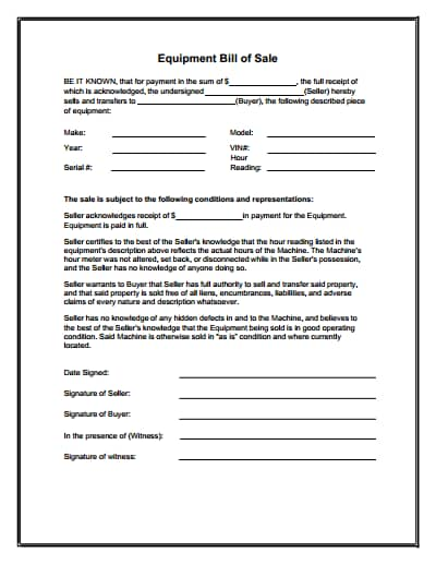 equipment bill of sale form 1