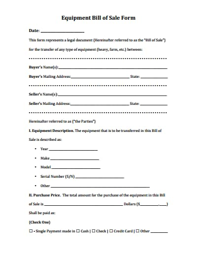 equipment bill of sale form 2