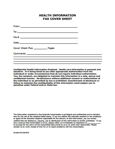medical fax cover sheet template 1