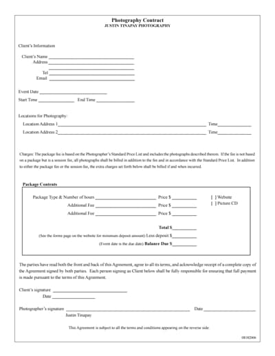 Photography Contract Template Free Download Create Edit Fill And Print Wondershare Pdfelement