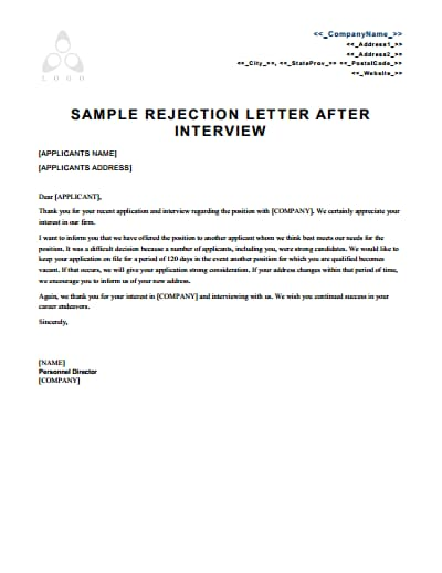 rejection letter template 1