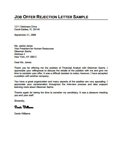 rejection letter template 2